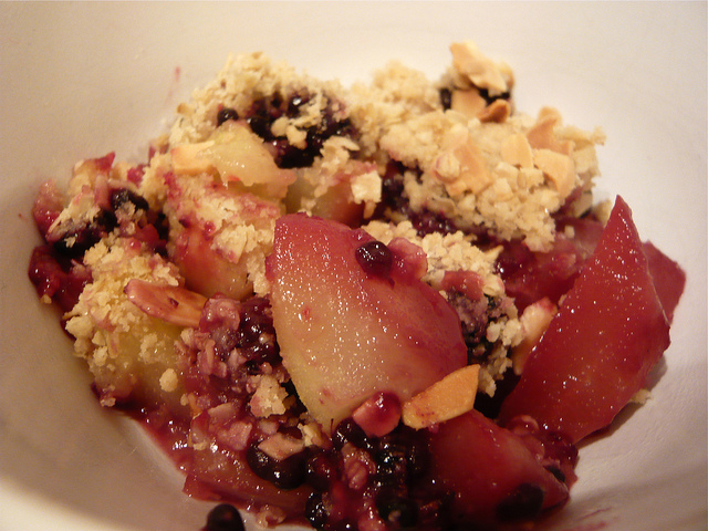 Pear and blackberry crumble