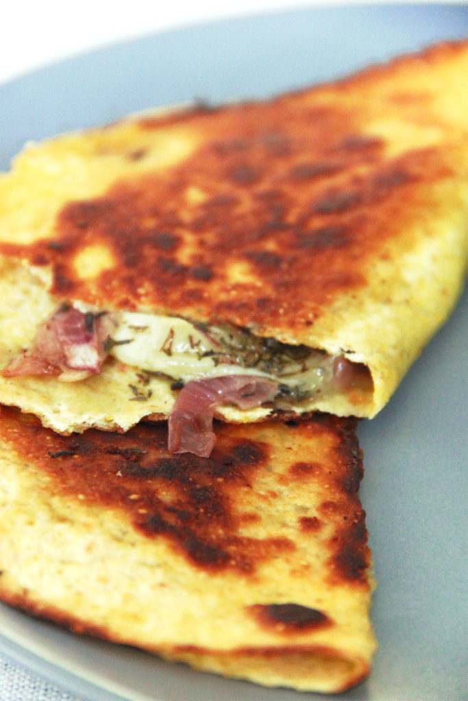 Grilled rocamadour en tortilla