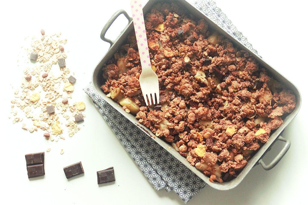 Crumble poires et chocolat au muesli
