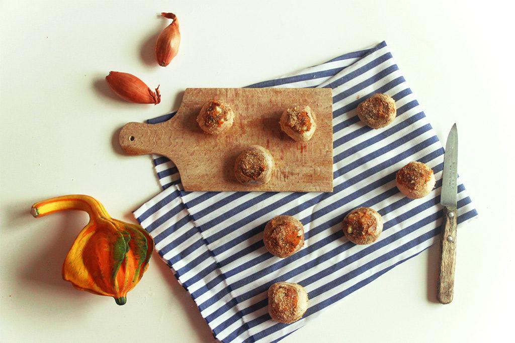 Champignons farcis au potiron et parmesan