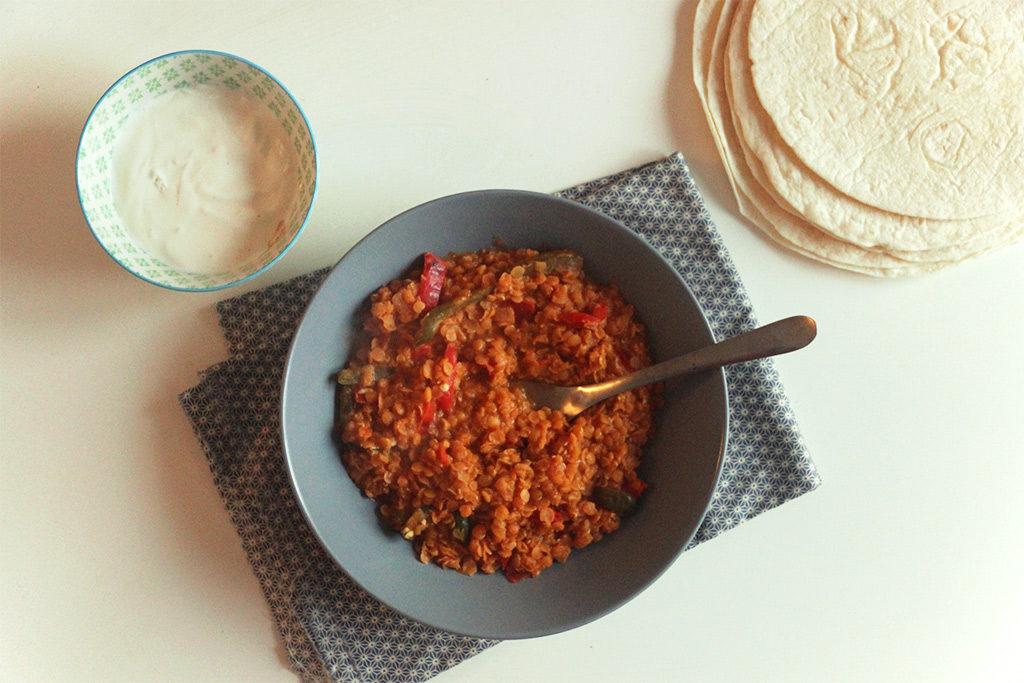 Tortillas aux lentilles et poivrons