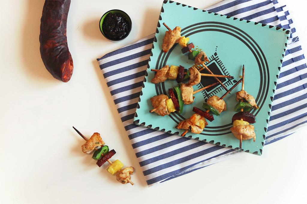 Brochettes chorizo poulet ananas