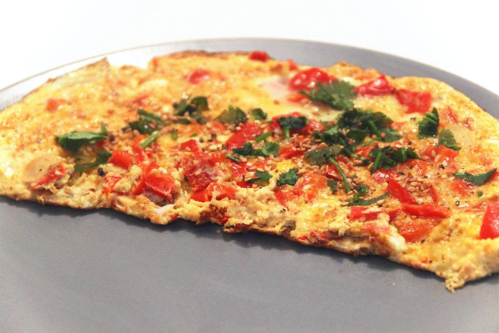Omelette aux poivrons et chermoula