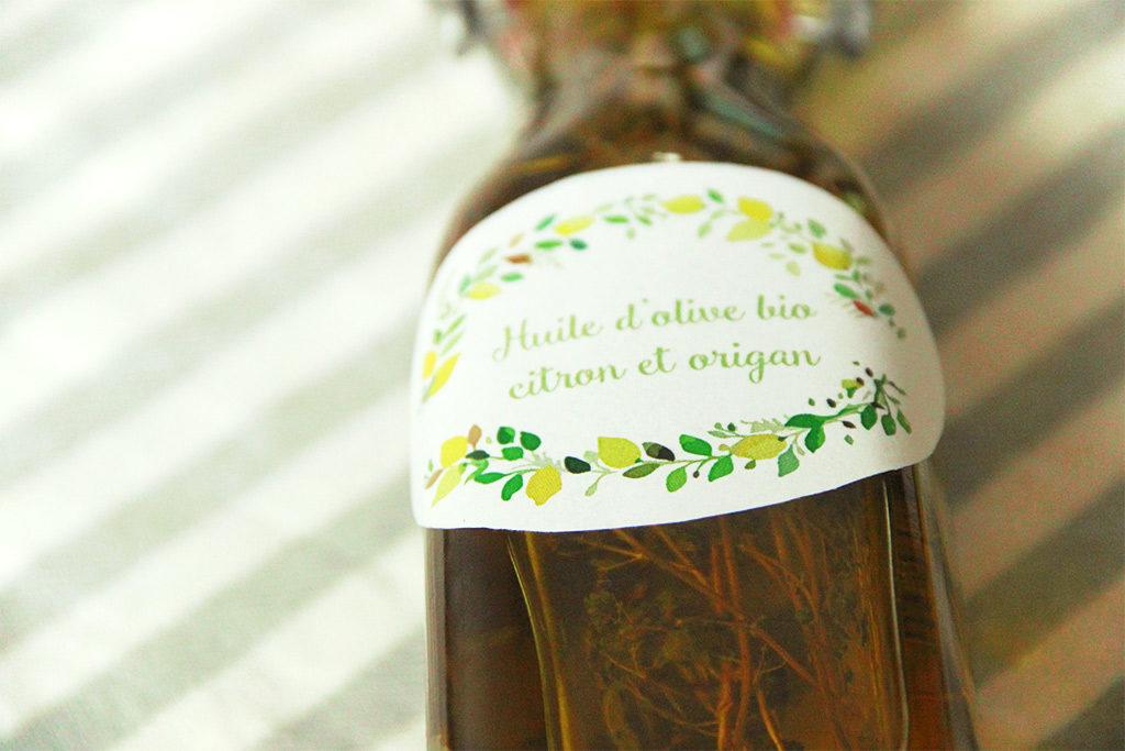 Huile d'olive au citron et origan