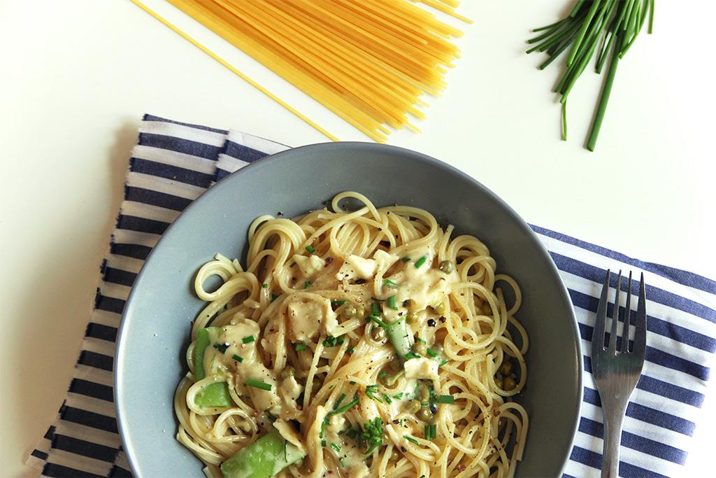 Spaghetti verts au camembert