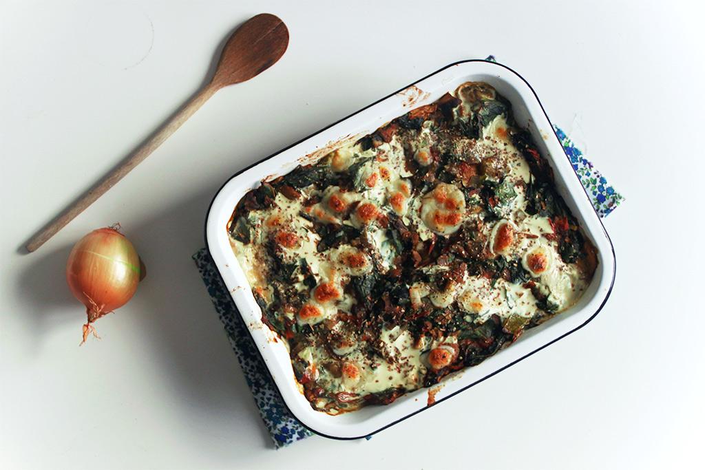 Gnocchis aux champignons et blettes au four