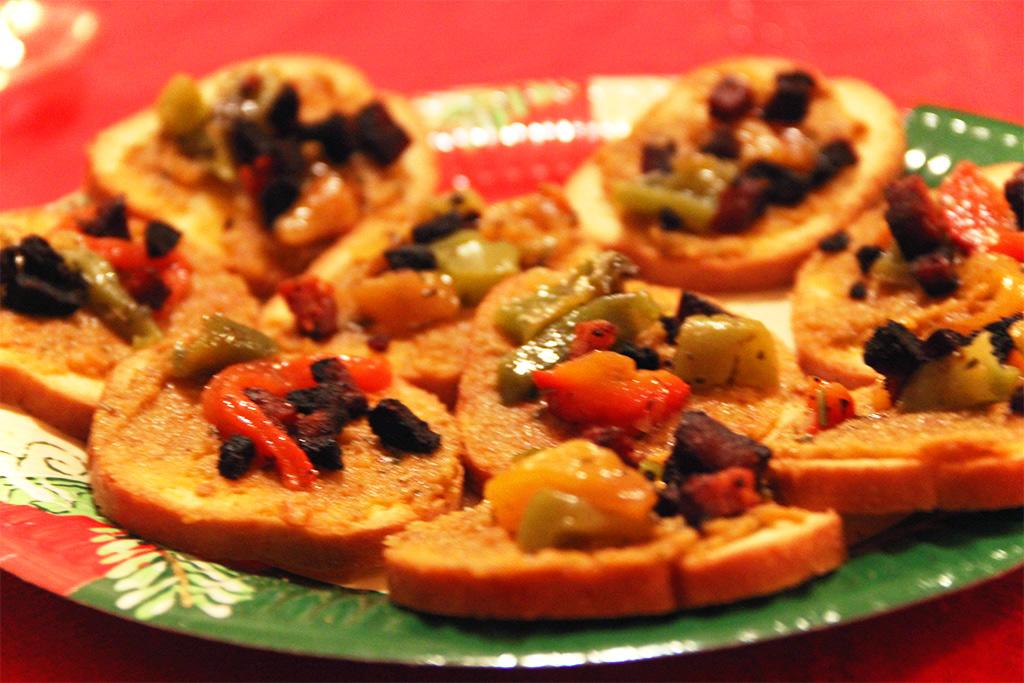 Toasts chorizo, poivrons et pesto rosso